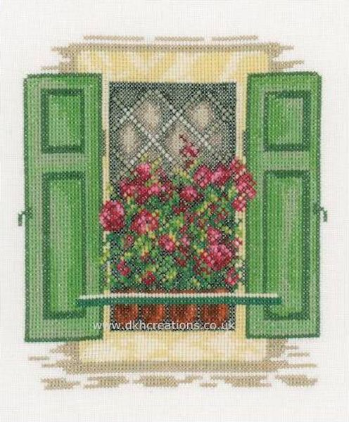 Window With Green Shutters Cross Stitch Kit
